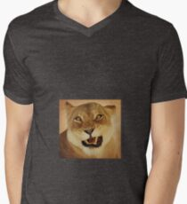 angry lioness Men's V-Neck T-Shirt