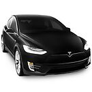 Black 2017 Tesla Model X luxury SUV electric car isolated on white art photo print by ArtNudePhotos