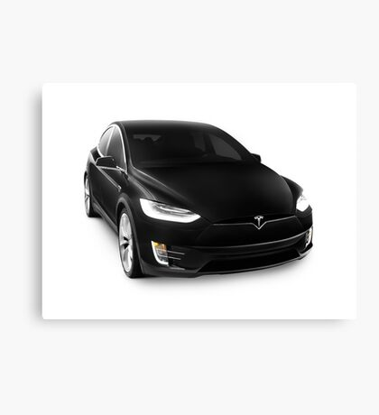 Black 2017 Tesla Model X luxury SUV electric car isolated on white art photo print Canvas Print