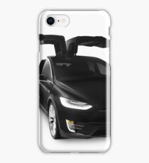 Black 2017 Tesla Model X luxury SUV electric car falcon doors art photo print iPhone Case/Skin