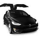 Black 2017 Tesla Model X luxury SUV electric car falcon doors art photo print by ArtNudePhotos