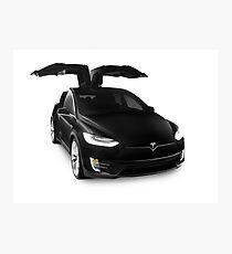 Black 2017 Tesla Model X luxury SUV electric car falcon doors art photo print Photographic Print