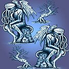 Cthulhu the Cthinker in Bilious Blue by jenithea