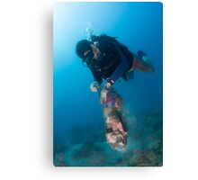 Happy diver, happy ocean! Canvas Print