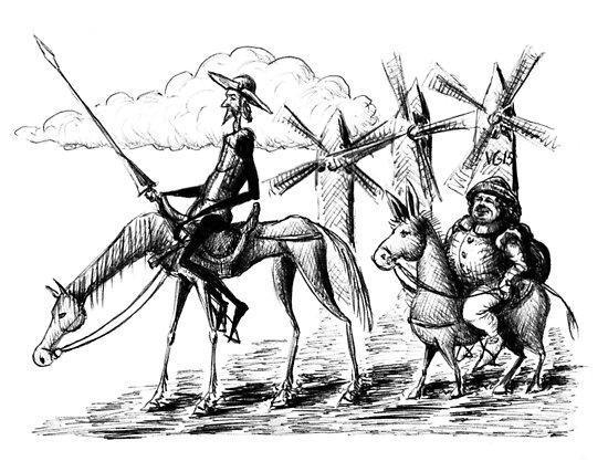 Don Quijote Und Sancho Panza Tuschezeichnung Poster Von Vitaliy
