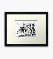 Don Quixote and Sancho Panza ink drawing Framed Print