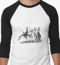 Don Quixote and Sancho Panza ink drawing Men's Baseball ¾ T-Shirt