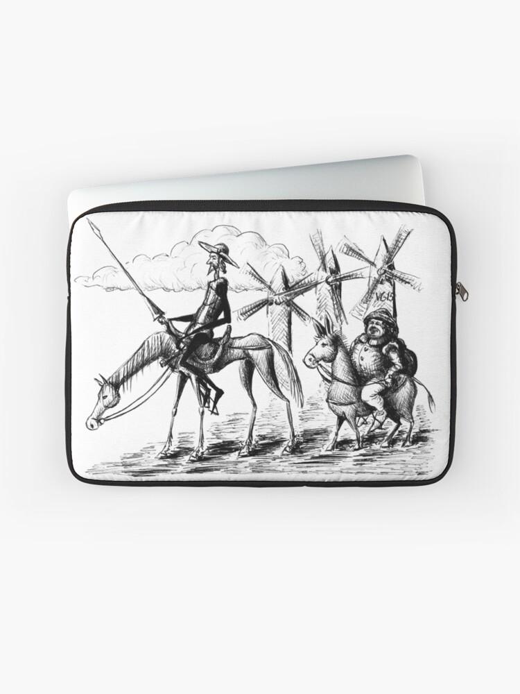 Don Quijote Und Sancho Panza Tuschezeichnung Laptoptasche Von