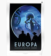 Europa Moon - Jupiter Travel Poster Poster