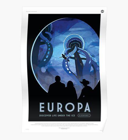 Europa Moon - Jupiter Travel Poster Poster