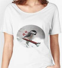 LITTLE BIRD ON SKIS-COME SKI WITH ME BIRD PILLOW Women's Relaxed Fit T-Shirt