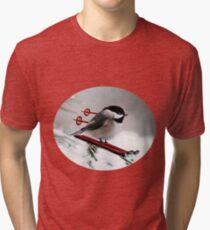 LITTLE BIRD ON SKIS-COME SKI WITH ME BIRD PILLOW Tri-blend T-Shirt