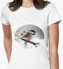 LITTLE BIRD ON SKIS-COME SKI WITH ME BIRD PILLOW Women's Fitted T-Shirt