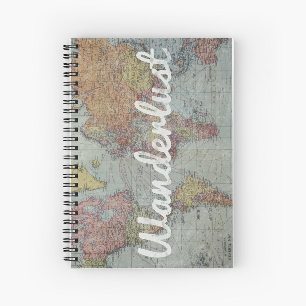 Wanderlust on Vintage World Map Spiral Notebook