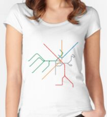 Boston Train Map Women's Fitted Scoop T-Shirt