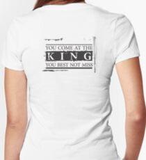 """""""You Come at the King, You Best Not Miss"""" - The Wire (Dark) Women's Fitted V-Neck T-Shirt"""