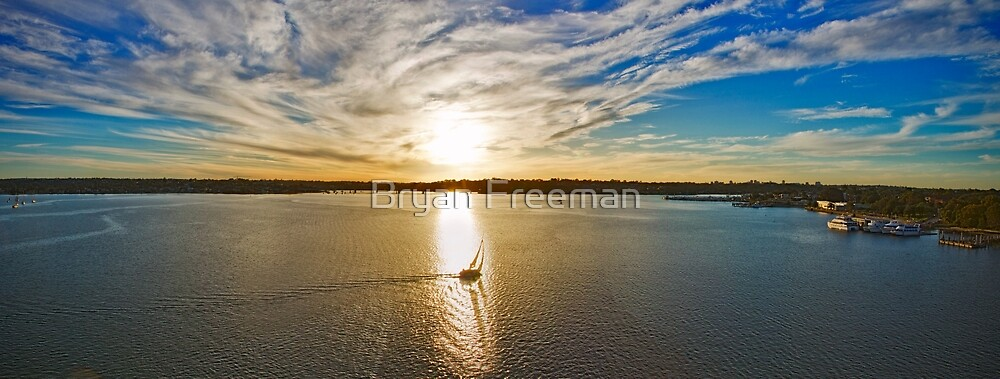 Georges River Sunset Sails - Sydney - Australia by Bryan Freeman