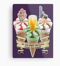 Three Flavours Cornetto Trilogy with banner Metal Print