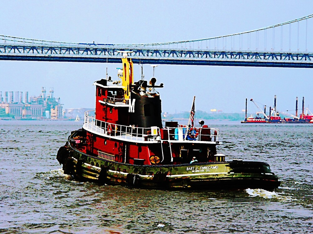 Phildelphia PA - Tugboat at Penn's Landing by Susan Savad