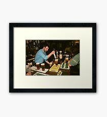 Landlord serving pints of beer, UK, 1980s. Framed Print