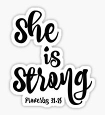 Proverbs She is Strong Quote Sticker