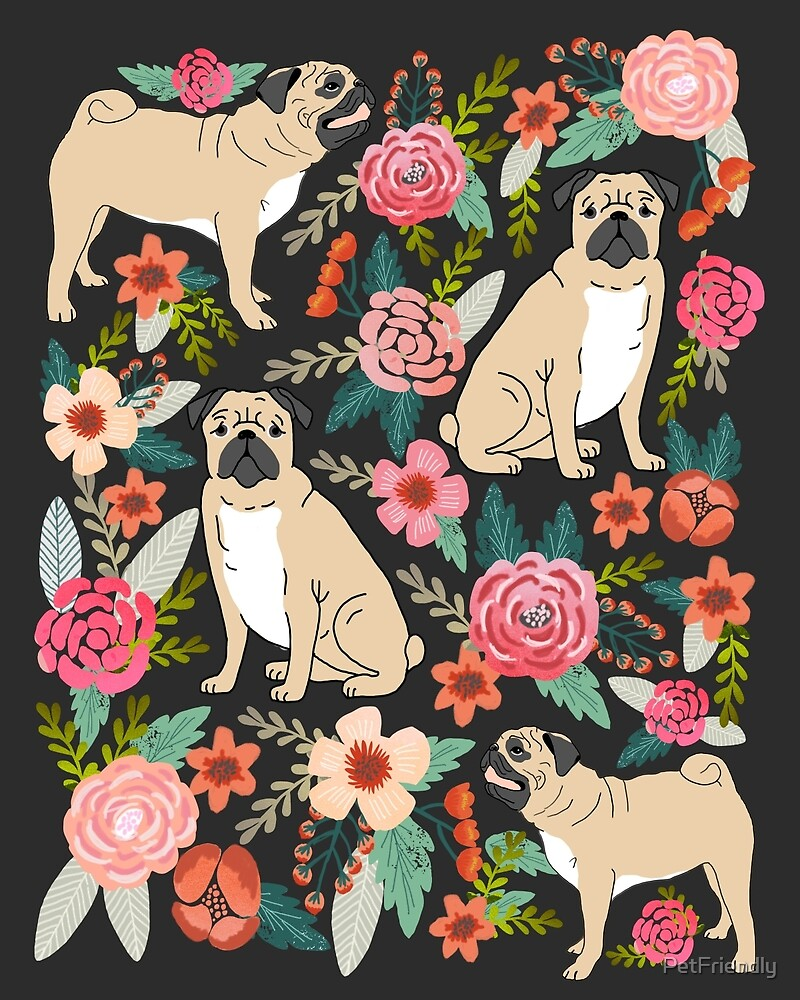 pugs of spring pattern print dogs puggle puppy floral flowers