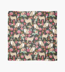 Pugs of Spring pattern print dogs puggle puppy floral flowers nature pug dog walker dog gifts for pug owners Scarf