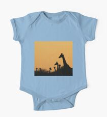 Giraffe Silhouette - African Wildlife Background - Colors in Nature Kids Clothes