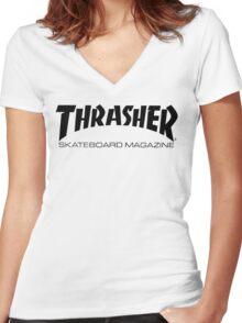 """Thrasher """"Skateboard Magazine"""" Logo Design Women's Fitted V-Neck T-Shirt"""
