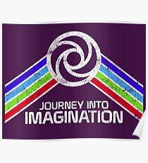 Reise in die Phantasie Distressed Logo im Vintage-Retro-Stil Poster