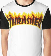 "Thrasher ""Flame"" Logo Design Graphic T-Shirt"