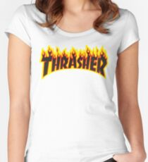 "Thrasher ""Flame"" Logo Design Women's Fitted Scoop T-Shirt"