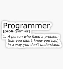 Programmer definition black Sticker