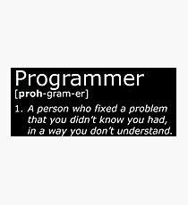 Programmer definition white Photographic Print