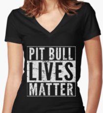 Pit Bull Lives Matter Women's Fitted V-Neck T-Shirt