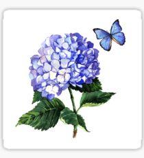Blue hydrangea and butterfly Sticker