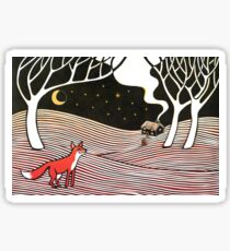 Stargazing - Fox in the Night - original linocut by Francesca Whetnall Sticker