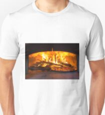 traditional Italian pizza wood oven with raw pizza and large fire in the background T-Shirt