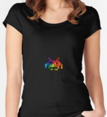 Colour-Burst Space Invader Women's Fitted Scoop T-Shirt