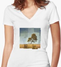 Abstract Landscape Women's Fitted V-Neck T-Shirt