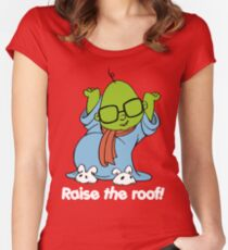 Muppet Babies - Bunsen - Raise The Roof - White Font Women's Fitted Scoop T-Shirt