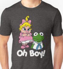 Muppet Babies - Kermit & Miss Piggy - Oh Boy - White Font Unisex T-Shirt