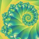 Bright Yellow and Green Spiral by Kitty Bitty