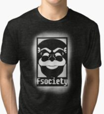 fsociety logo - white spray painted Tri-blend T-Shirt