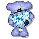 blue camo heart bear by doonidesigns