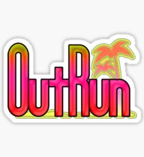 OutRun SEGA Arcade Vaporwave Logo Sticker