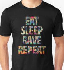 Eat Sleep Rave Wiederholen Slim Fit T-Shirt