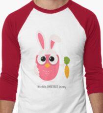 Cute pink little owl with bunny ears. Men's Baseball ¾ T-Shirt