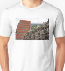 The Old and the New - Victorian Houses in Front of the Apple Green and Orange Facades of Central Saint Giles Unisex T-Shirt