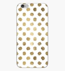 Luxurious faux gold leaf polka dots brushstrokes iPhone Case